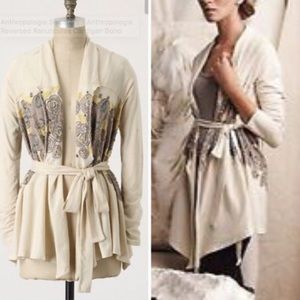 Anthropologie cream embroidered cardigan Small
